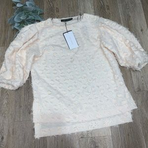 Zara cream doted fur design top